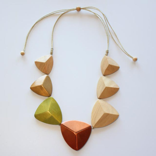 NATURAL WOOD AND METAL TRIANGLE NECKLACE