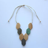NATURAL WOOD AND METAL HEXAGON NECKLACE