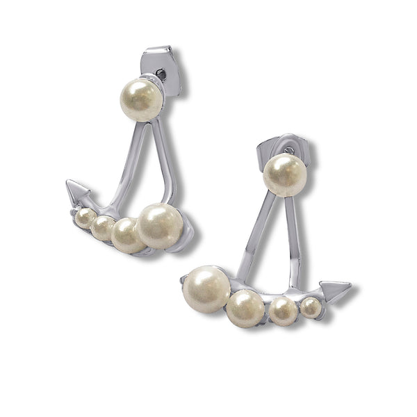 Arrow Earrings with Pearls