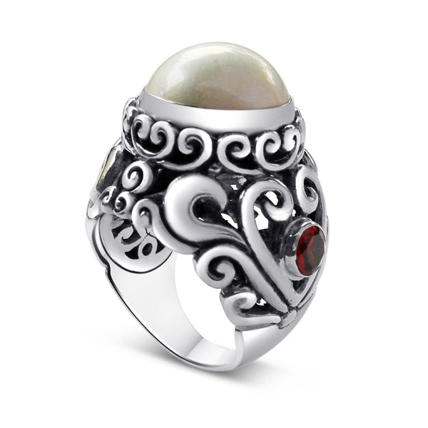 Large Silver Ring with Pearl and 2 Garnet Stones