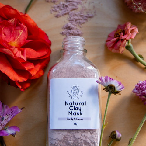 Natural Cosmetic Clay Mask Australia | Pink Face Clay Mask Powder Clay Mask - outbackeve Natural Mineral Makeup Cosmetics for Sensitive Skin Australia
