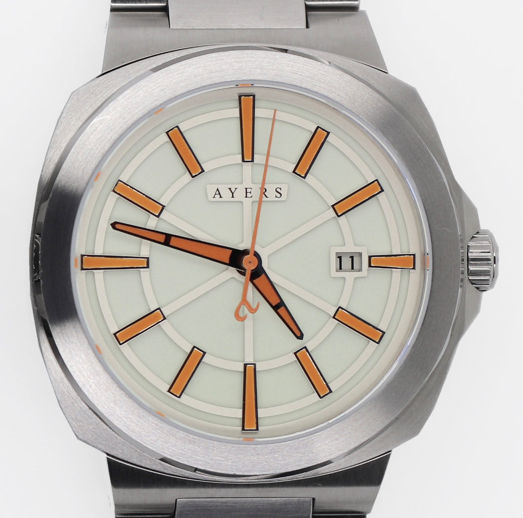 The Metropolitan MT-03 White and Orange Dial. Ayers Watches. Full lume, Automatic watch