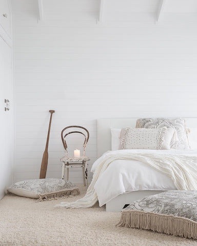 bedroom side table white bedding bedroom goals LOOM LIVING