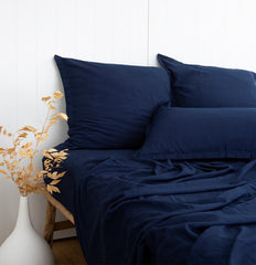 INDIGO BLUE BAMBOO SHEET SET FITTED SHEET BAMBOO FLAT SHEET BAMBOO ETHICALLY MADE SHEETS LOOM LIVING