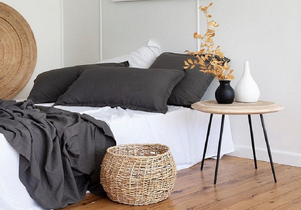 Grey and white BAMBOO COTTON BEDLINEN SHEETS DUVET PILLOWSLIPS bamboo quilt cover LOOM LIVING