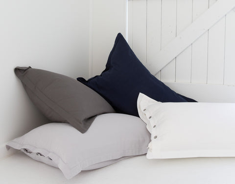 bamboo cotton pillowcases ethical pillowslips Indigo White pillowcases grey pillowcases LOOM LIVING