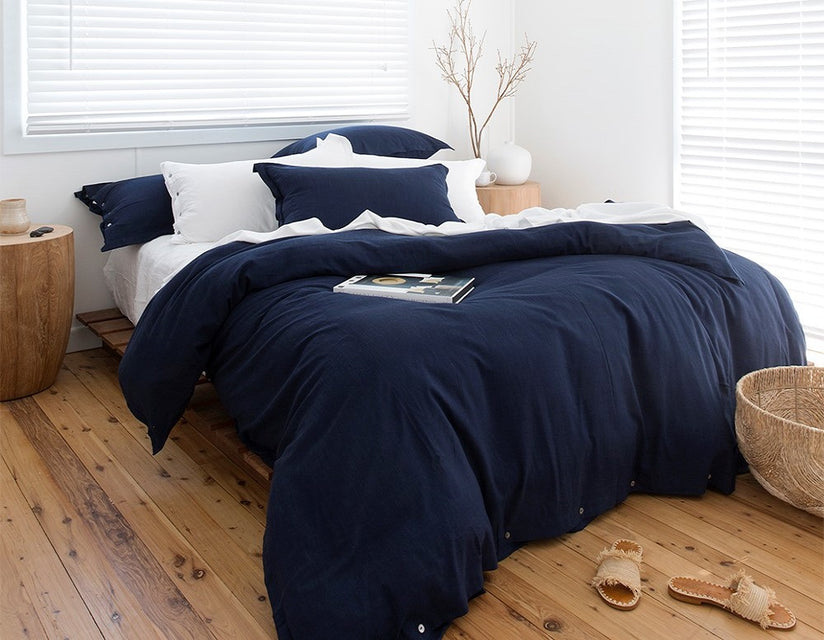 Indigo DUVET cover pillowslips quilt cover pillowcases pairs BAMBOO cotton ethical sustainable LOOM LIVING
