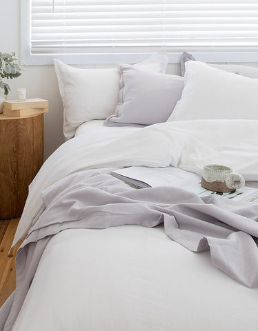 bamboo duvet set pillowcase white bedlinen LOOM LIVING