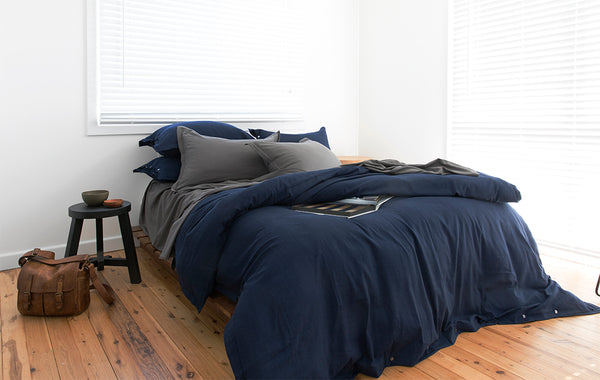INDIGO GREY BAMBOO QUILT COVER BAMBOO SHEET LOOM LIVING ETHICAL BEDLINEN BAMBOO