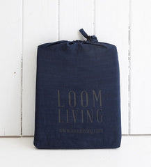 Indigo PILLOWCASE set pillowslips BAMBOO COTTON packaging LOOM LIVING