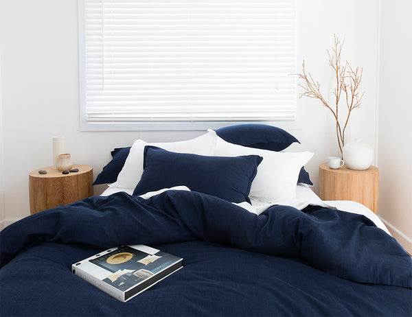 INDIGO BAMBOO QUILT COVER WHITE BAMBOO SHEETS LOOM LIVING BAMBOO BEDLINEN
