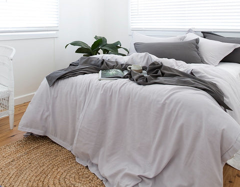 bedding grey bamboo duvet pillowslips pillowcases bamboo Loom Living