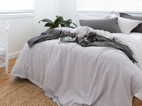 Grey bamboo cotton quilt cover Ultimate Grey bedlinen LOOM LIVING