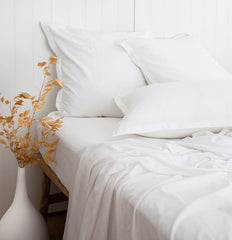 WHITE BAMBOO SHEETS BAMBOO FLAT SHEET BAMBOO FITTED SHEET ETHICALLY MADE BAMBOO BEDLINEN LOOM LIVING