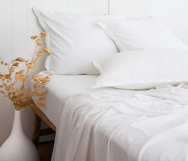 WHITE bamboo cotton SHEET set sheet and pillowcase pair LOOM LIVING