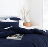Indigo bamboo cotton bed line quilt cover set with pillowcases