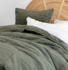 Olive green VELVET bedding velvet coverlet velvet throw cotton velvet collection LOOM LIVING