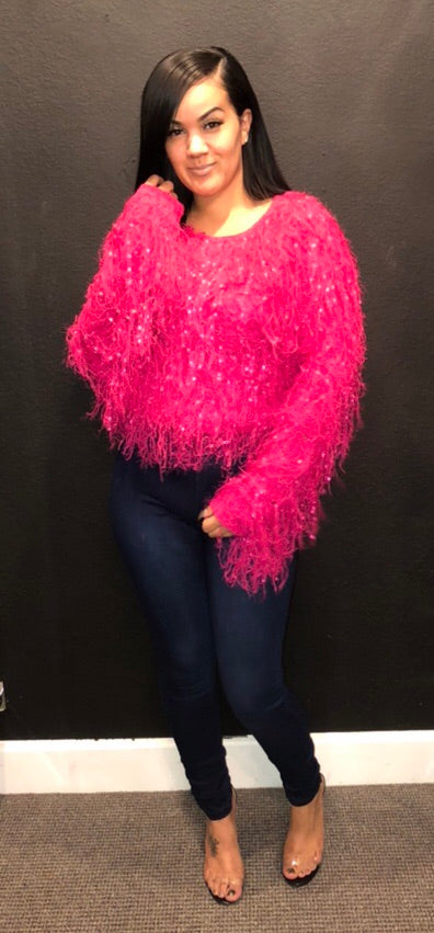 Pink shaggy sweater