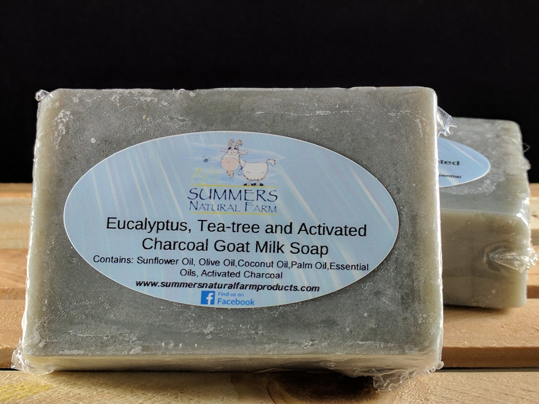 Goat Milk Soap with Teatree Oil, Eucalyptus Oil and Activated Charcoal