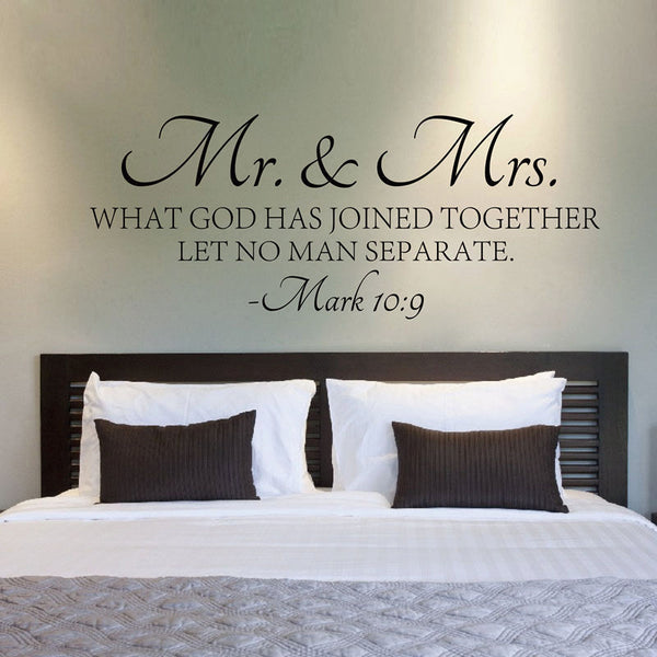Mr. & Mrs. Love Thy  Spouse Wall Decal Mark 10:9