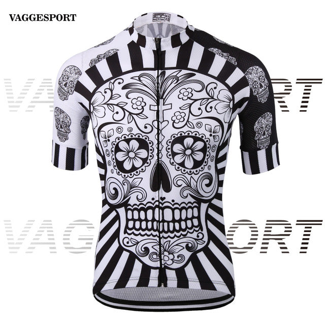 White skull sublimation printing cycling jersey wear/best pro polyester  cycling clothing/summer men quick dry bicycle wear