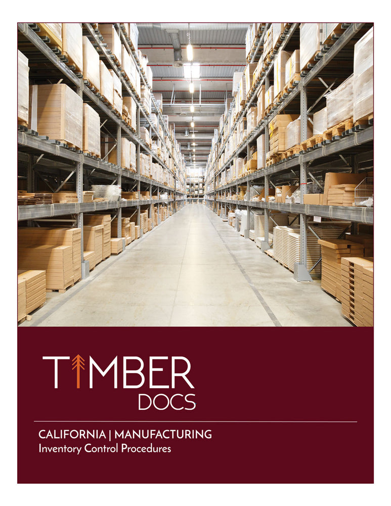 California Manufacturing Inventory Control Plan