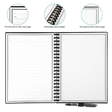 Elfinbook™ 2.0 Wirebound Spiral Smart Reusable Notebook with Pilot FriXion Pen