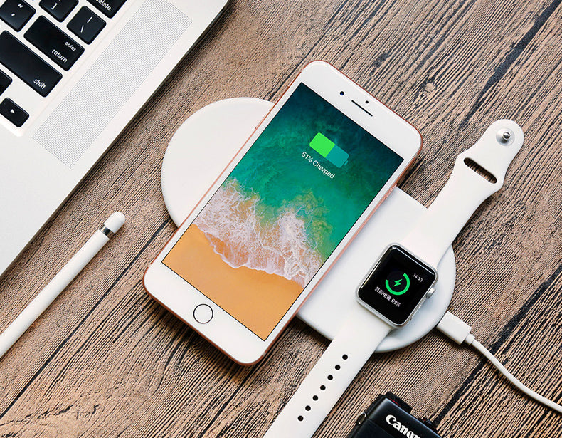 2 in 1 QI Wireless Fast Charging Pad