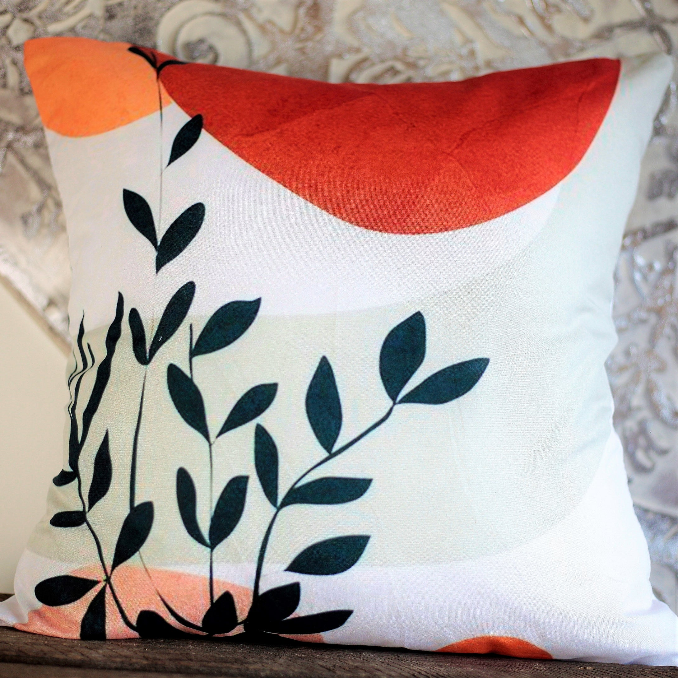 Plants and sunset bohemian cushion cover