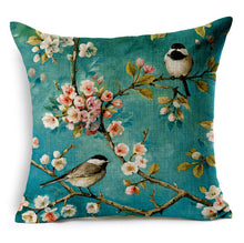 Linen wild bird print cushion cover