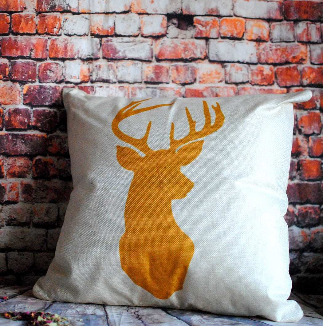Wild reindeer geometric print cushion cover