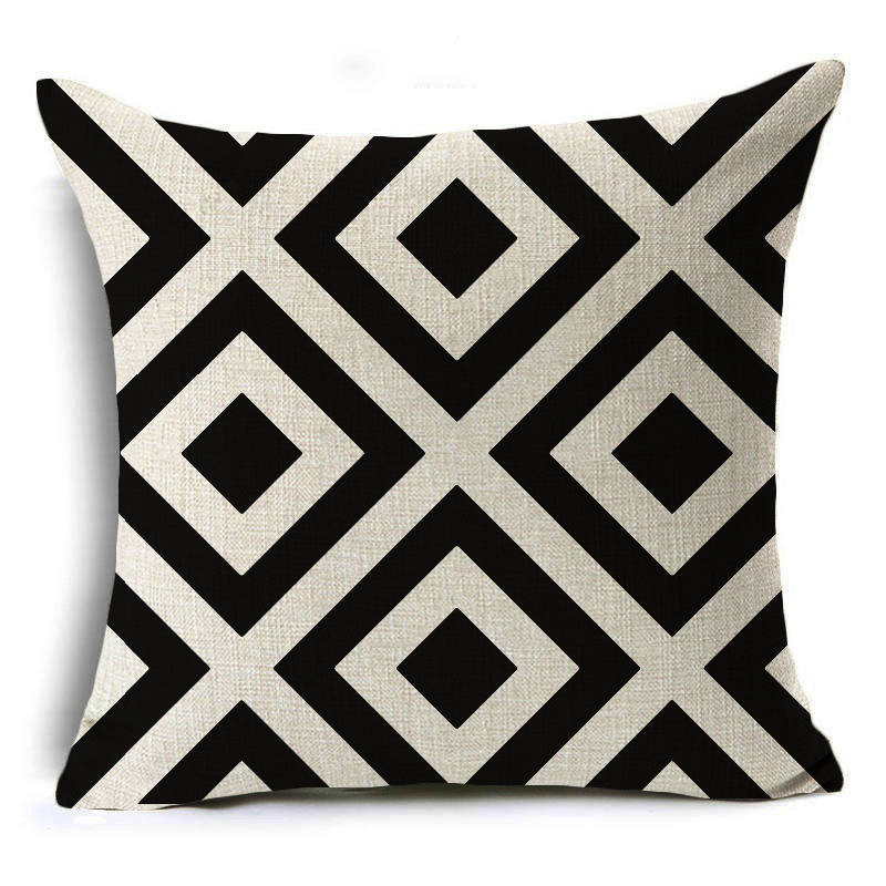 Scandinavian soft black and cream print cushion cover