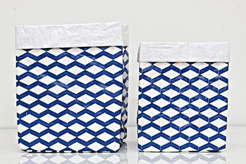Plant Bag - Blue and White Set of Two