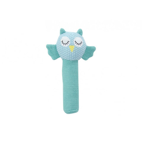 Hand Rattle - Owl Blue