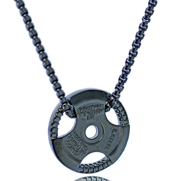 Barbell Plate Necklace - Phil 4:13 Engraved - Gym Rat World