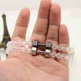 Frosted Glass Beads Dumbbell Bracelet - Gym Rat World