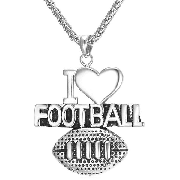 I Love Football Necklace - Gym Rat World