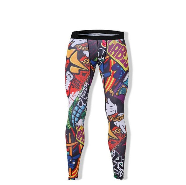 Men's Printed Compression Tights - Gym Rat World
