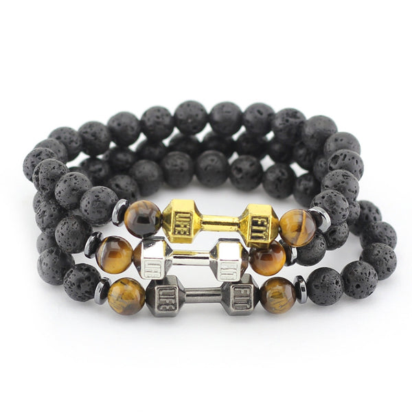 Black Lava Stone Beads Dumbbell Bracelet - Gym Rat World