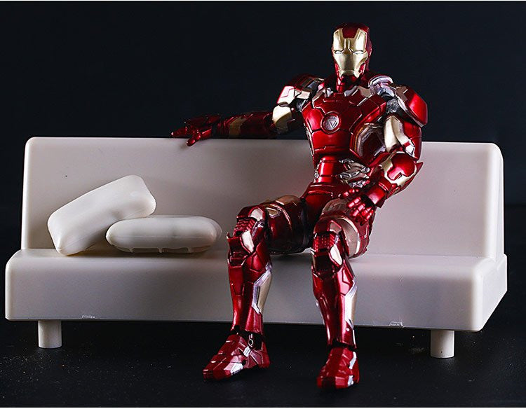 SHFiguarts Iron Man Mark 43 with Sofa PVC Action Figure Collectible Model  Toy 15 5cm KT2614