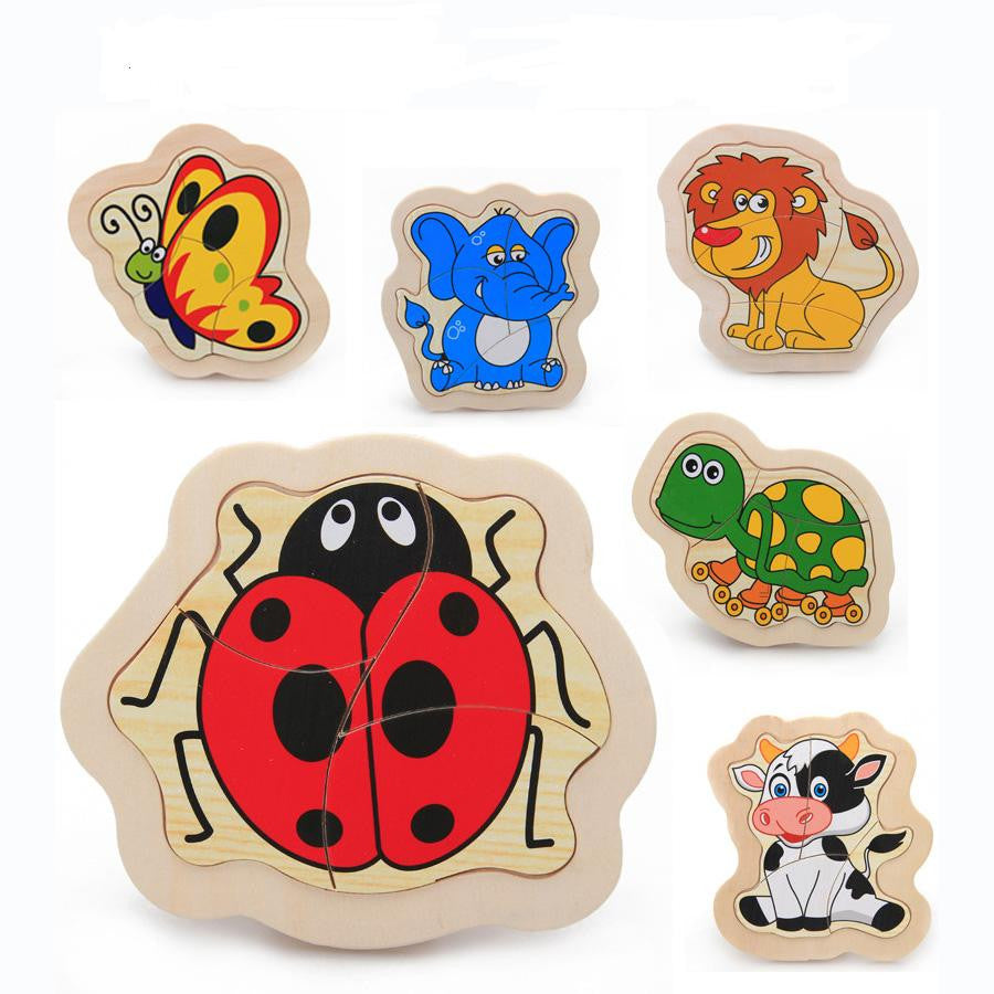 Free Delivery Cartoon Animals Puzzle 18 Wooden Four Pieces Of The