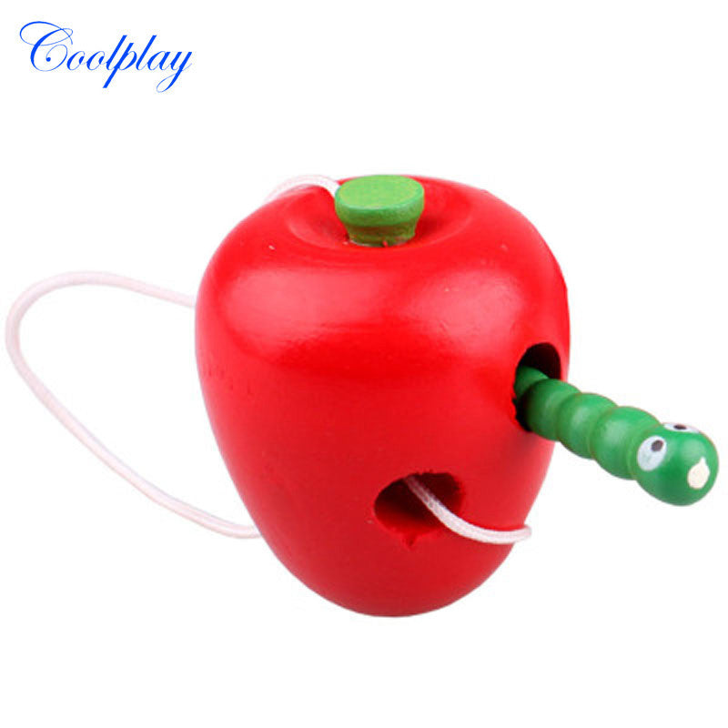 Coolplay Montessori Educational Toys Fun Wooden Toy Worm Eat Fruit Apple Pear Early Learning Teaching Aid Baby Toy Gift For Kids
