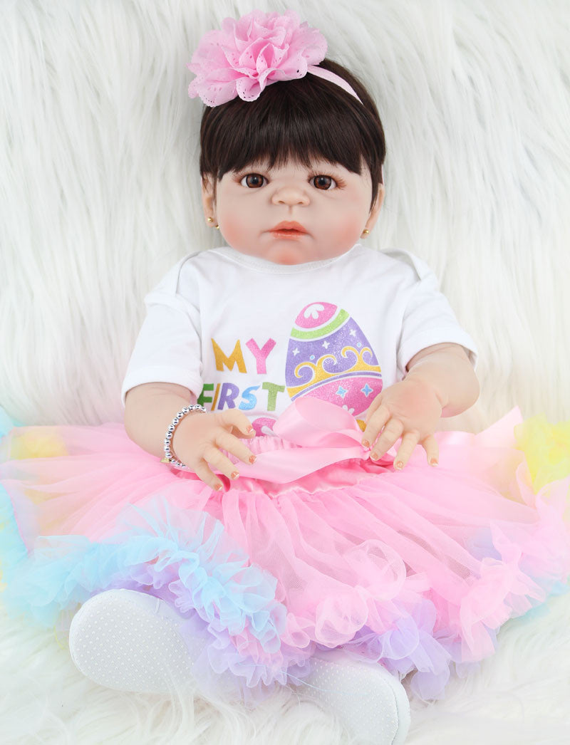 NPKCOLLECTION 55cm Full Silicone Reborn Girl Baby Doll Toys Realistic Newborn Princess Babies Lovely Birthday Gift Present