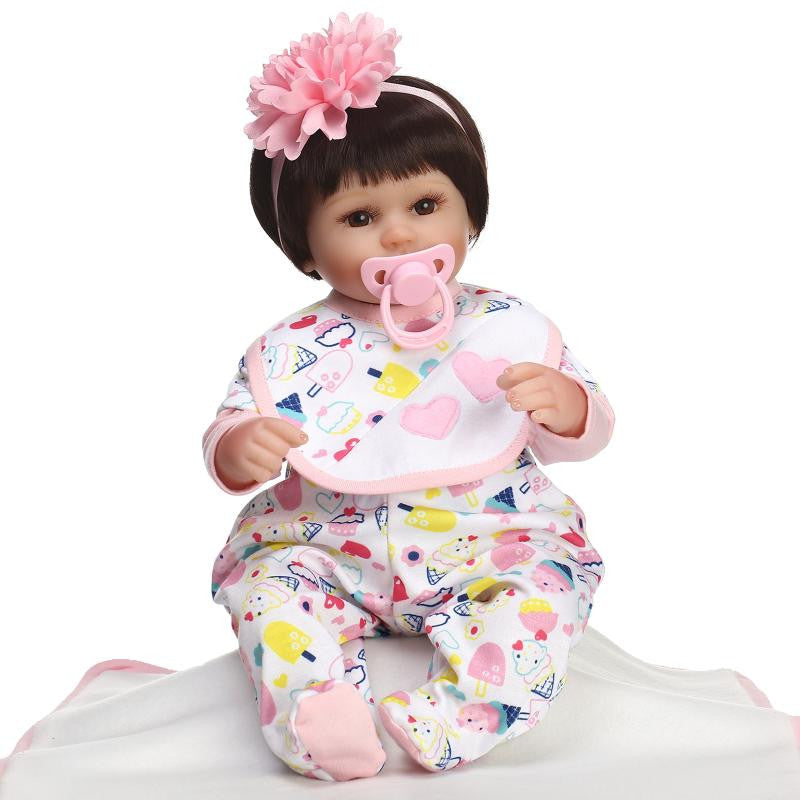 9d41974662e63 Reborn Baby Doll Soft Silicone vinyl 18 inch 42 cm Lovely Lifelike Cute Baby  Boy Girl Toy Beautiful clothes doll