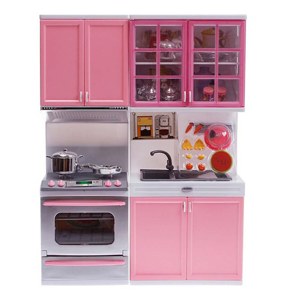 Pink Sale Kid Kitchen Fun Toy Pretend Play Cook Cooking Cabinet