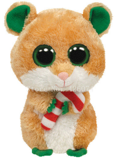 New Ty Beanie Boos Big Eyed Stuffed Animals Candy Cane Christmas Hamster  Mouse Kids Plush Toys For Children Gifts 15CM bd756a5b0a43