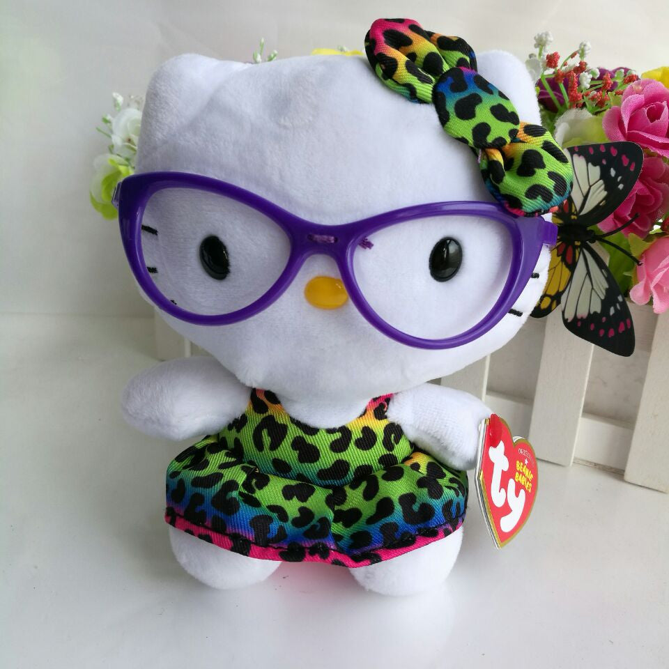 58e2b53a549 Hello Kitty HELLO KT CAT WITH GLASS TY BEANIE BABIES 15CM 6