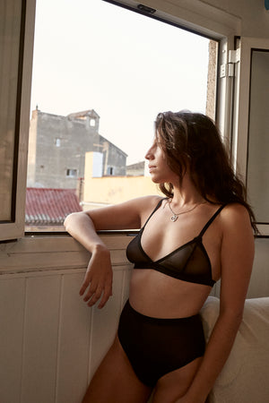 IMPERFECT EVA BLACK MESH BRALETTE