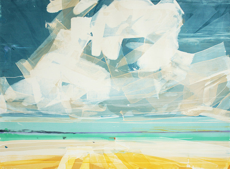 Golden Shores, amazing seascape Isles of Scilly, acrylic on paper painting