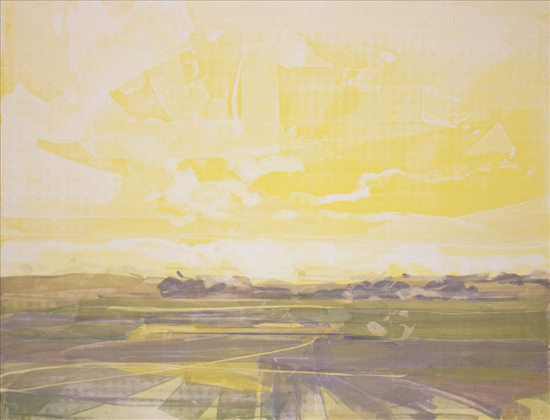 Yellow Sky, Sunrise in Norfolk, Acrylic on Ppaer